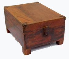Coffre en bois vieux teck patine d'origine 41x30x22cm Artisanat vintage Inde