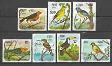 Oiseaux Kampuchea (69) série complète de 7 timbres oblitérés