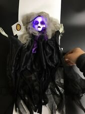 Light Up Eyes Haunted Girl Black Party Spooky Scary Halloween Doll Hanging Prop