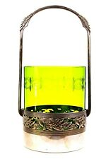 Antique Art Deco WMF Green Glass Lined Silver Plated Holder Jugendstil 1900