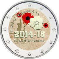 2 Euro Gedenkmünze Belgien 2014 coloriert / mit Farbe Farbmünze  Weltkrieg
