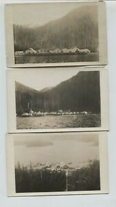 3 1910 era Shakan Alaska Real Photo Postcards RPPC Village & Cannery Views