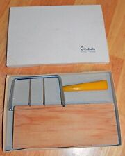 Vintage Cheese Slicer w Wood Board Wire Yellow Plastic Handle Cutter Retro GUC