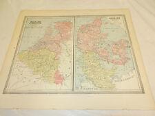 1884 Cram Antique COLOR Map///BELGIUM, NETHERLANDS, DENMARK, b/w SWEDEN & NORWAY