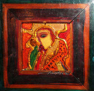 Hand made painted oil/metal abstract collage wall decor painting