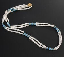 """Vintage Pearl & Turquoise Double Strand Necklace 28"""""""