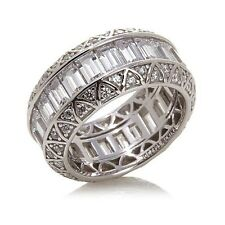 Jean Dousset Absolute Baguette And Round Sterling Eternity Band Ring Size 8 HSN