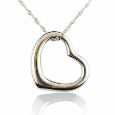 14k white Gold plated love heart wedding pendant necklace