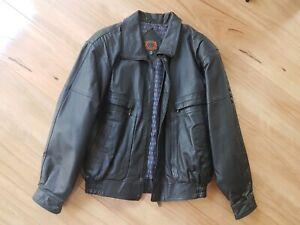 JASPER Mens black Genuine Leather Jacket Size 97 large😎