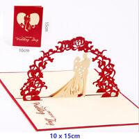3D Pop Up Greeting Card Birthday Anniversary Valentine's Day Wedding Card - Red