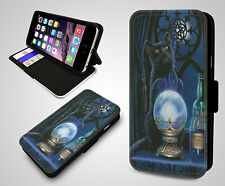 Black Cat Salem Witches Gothic Magical Mystical Cats Leather Phone Case Cover