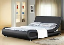 Faux Leather Firm Contemporary Beds with Mattresses