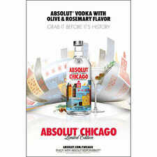 ASBOLUT CHICAGO POSTER 24 BY 36 NEW
