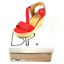 BP Maurice Espadrille Wedge Sandal Red Orange Fabric Womens Size 9 M