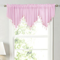 Solid Color Triangle Shape Kitchen Window Short Curtain Valance Drape Home Decor