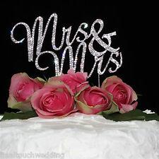 Mrs & Mrs Gay/Lesbian Wedding Cake Toppers Rhinestone/Diamonte