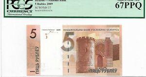 MONEY BELARUS 5 RUBLEI  2009 NATIONAL BANK PGCS GEM UNC PICK#37
