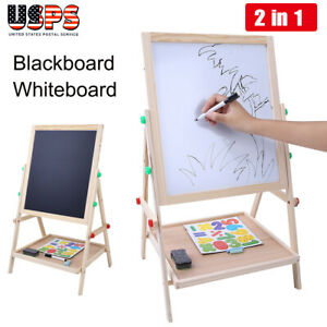 2 in 1 Double Side Baby Kids Child Standing Art Easel Wooden Chalk Drawing Board