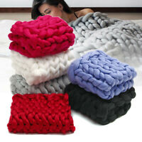 Large Soft Warm Handmade Chunky Thick Knitted Blanket Line Yarn Knit Throw