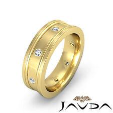 Mens Round Diamond Eternity Wedding Flat Band 14k Yellow Gold Solid Ring 0.15Ct