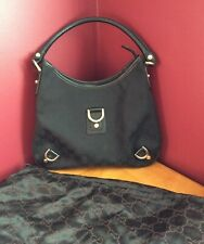 Gucci Black GG Canvas Abbey Medium D-Ring Hobo shoulder Bag EUC