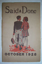 SAID & DONE magazine October 1928, Muskegon High, Hackley Training School.