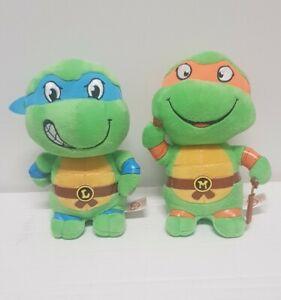 TY Ninja Turtles Beanie Babies - Michelangelo and Leonardo Lot - 2017 Used...