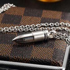 AgentX Men's Bullet Pendant Necklace Stainless Steel Military Jewelry Chain+Bag