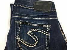 Silver Jeans Aiko Boot Cut Heavy Stitched Pockets Low Rise Blue Sz 26 x 33