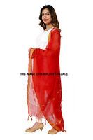 Indian Art Silk Woven Gold Zari Long Stole Banarasi Dupatta Shawl Dark Red Scarf