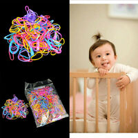 1000Pcs Baby Girls Rubber Hair Bands Holders Mix Color Elastics Tie Gum Supply>