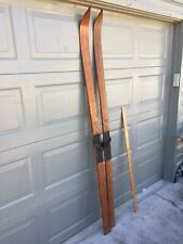 Antique C.A. Lund Co. Wood Snow  Skis  Record with leather bindings Made In USA