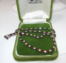 Vintage Japanned Christmas Ruby Red White Rhinestones Choker Necklace 12d 52