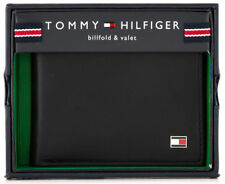 MENS TOMMY HILFIGER GENUINE LEATHER OXFORD SLIM BILLFOLD WALLET BLACK GIFT BOXED