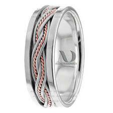 10K White & Rose Gold Hand Braided With Ropes Handmade Wedding Ring