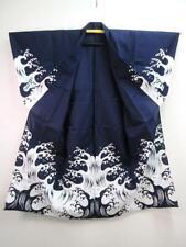 A5-4619a530 Cotton Vintage Japanese kimono YUKATA Amazing Wave