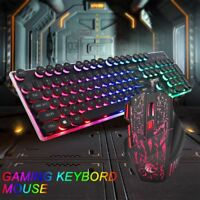 LED Light Computer Gaming Keyboard and Mouse Set Wired Backlight Mechanical