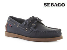 Mens Sebago Spinnaker Navy Brown Canvas Lace Up Boat Deck Shoes