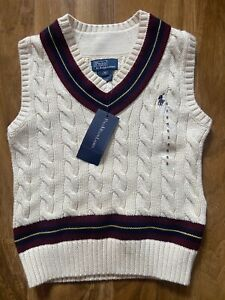 Ralph Lauren Boy's Cream Cable Knit Cricket Tank Top Jumper for Top 5 Years BNWT