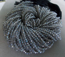 """13"""" silver MYSTIC COATED LABRADORITE faceted gem stone rondelle beads 3mm blue"""