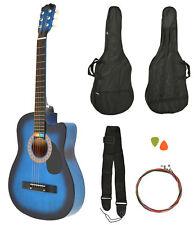 Guitare acoustique Sunburst bleu avec housse et accessoires NOUVEAU