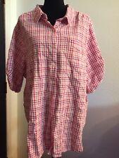 "3x Plus Woman Within 60"" Bust 32"" Length Shirt Top Blouse Seersucker Cotton NICE"