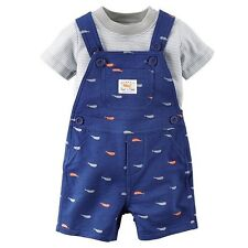 Brand New 6M Baby Boy 2 PC Carter's GrayTee & Printed Whales Shortall Set