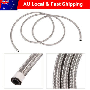 AN6 Stainless Steel Braided Fuel Oil Line Hose Silver 3 Meter / 10 Feet AU Post