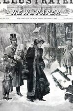 Christmas Shopping 1883 VISITING POOR SECTION of TOWN Child Orphans Matted Print
