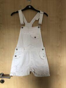 Damen Latzhose Shorts Kurz Jeans Weiß S By Clara Paris