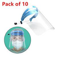 10 Full Face Shield Flip up Protective Reusable Face Cover Visor Hat Anti Splash