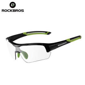 ROCKBROS Cycling PC Photochromatic Transparent Glasses UV400 Goggles Black Green