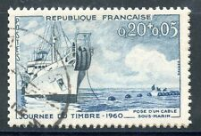STAMP / TIMBRE FRANCE OBLITERE N° 1245 NAVIRE CABLIER AMPERE