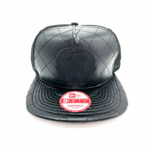 New Era x Secret Society Quilted Leather Mesh 9Fifty Snapback Hat Black NWT